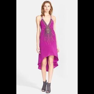 Silk dress Fuscia embroidered